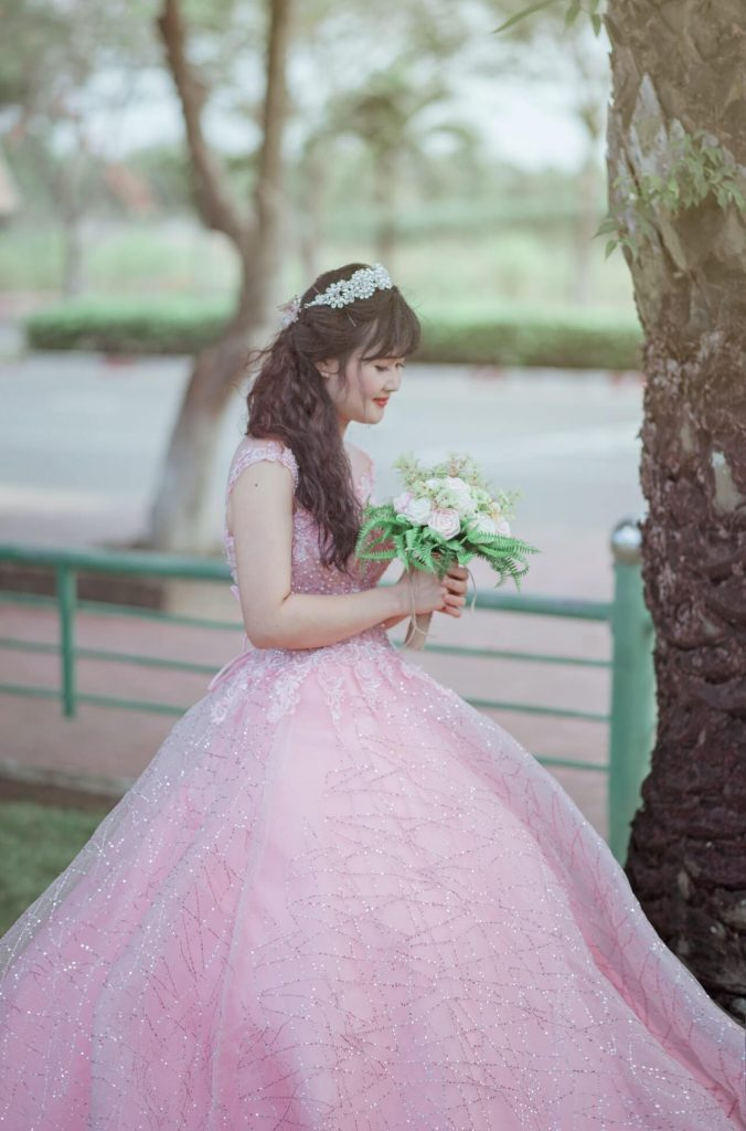 プリンセスドレス×ラウンドブーケorアームブーケ